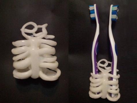 Skeletal toothbrush holder