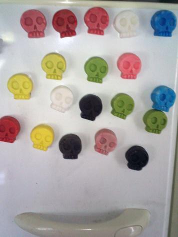 Skull fridge magnets